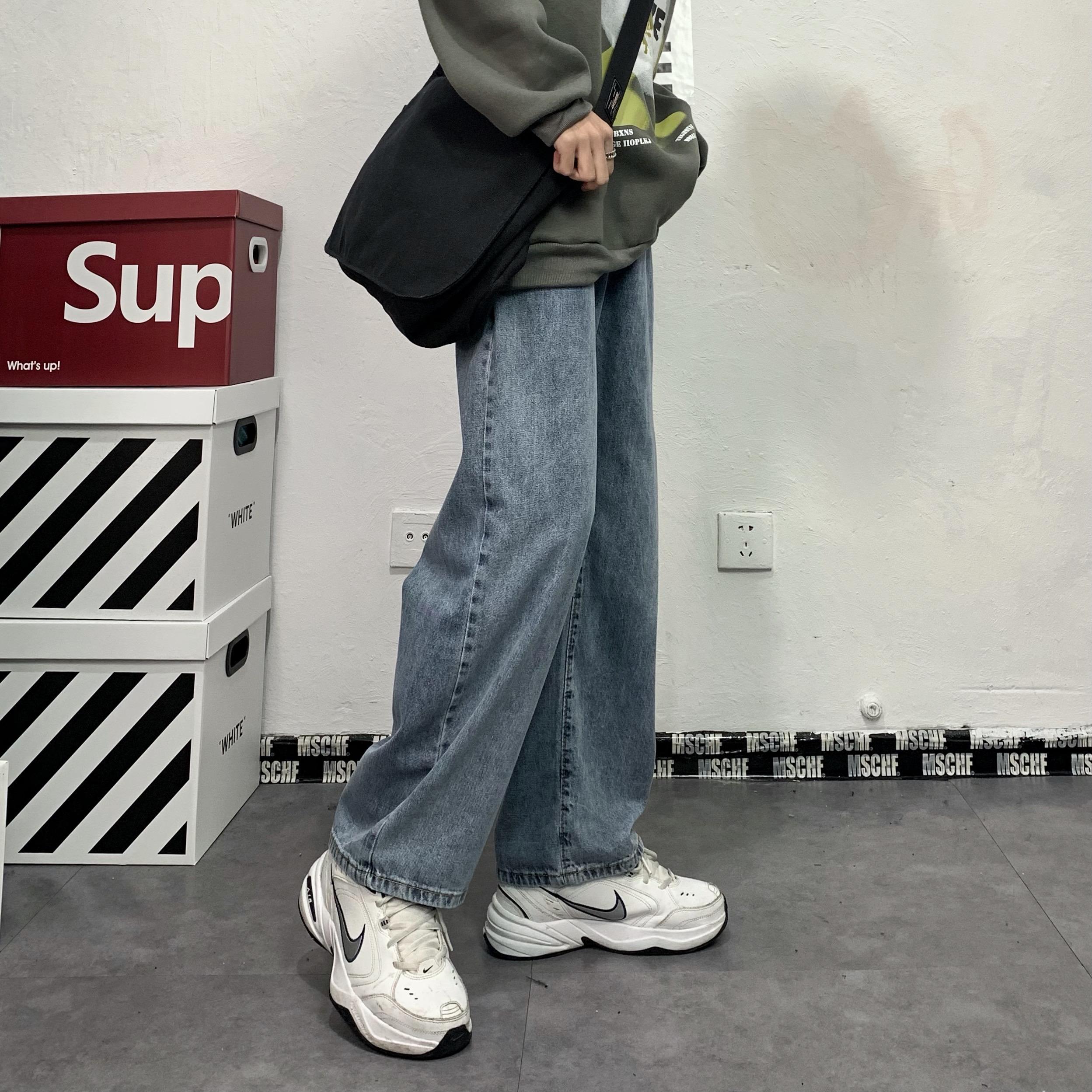 妈个鸡妈 韩国ins复古早春韩版水洗直筒阔腿裤长裤宽松牛仔裤男女