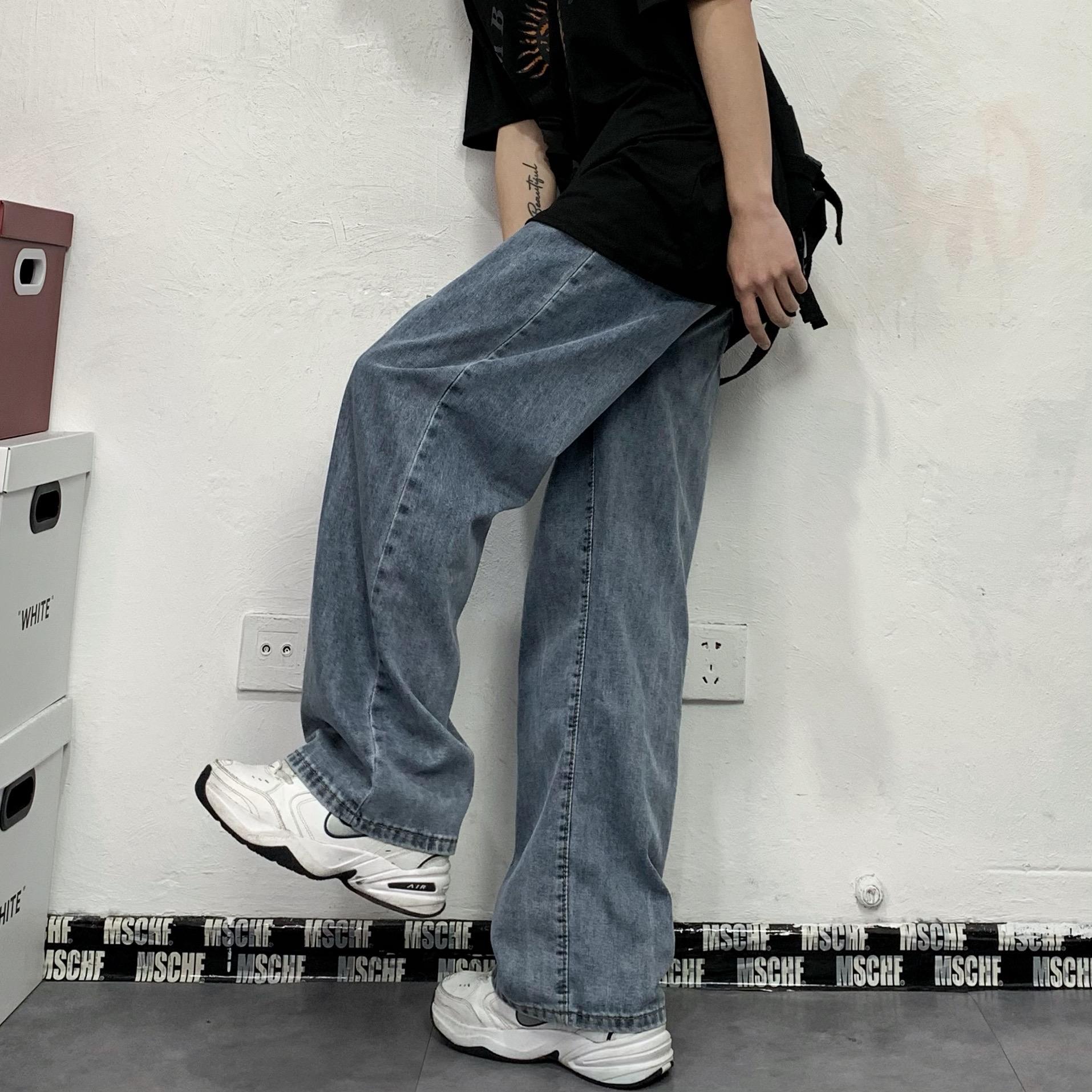 妈个鸡妈 韩国ins四季百搭潮流水洗直筒阔腿裤宽松长裤牛仔裤男女