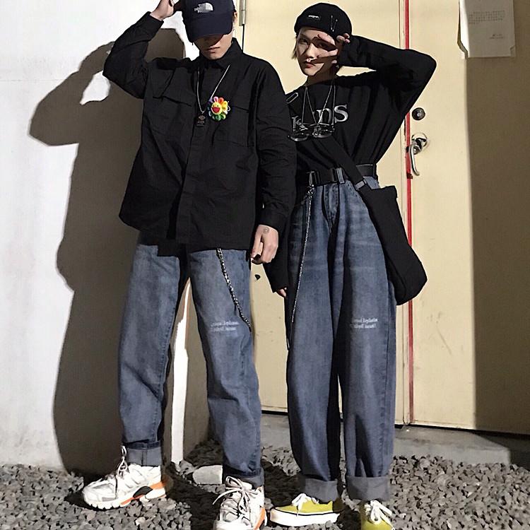 妈个鸡妈 18韩国暗黑系刺绣英文字母宽松直筒休闲牛仔长裤 男女款