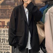 春季新款西装外套男士宽松排扣翻领开衫西服气质休闲韩版潮流上衣