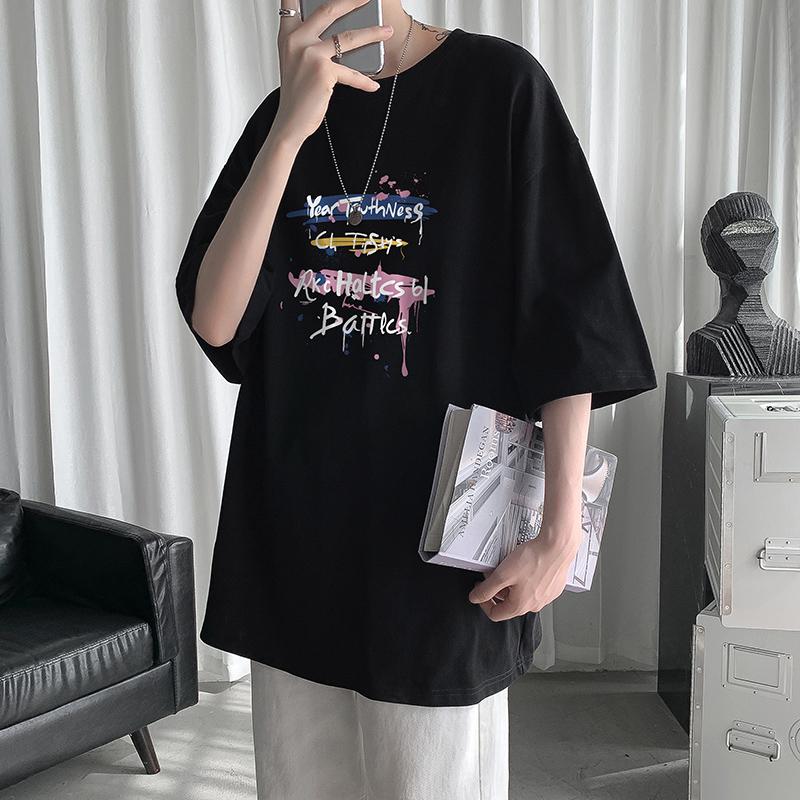 圆领大码短袖男港风嘻哈印花t恤好用吗