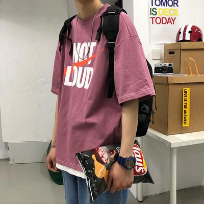 夏季潮牌短袖t恤男韩版新款半袖学生帅气体恤港风宽松百搭上衣服
