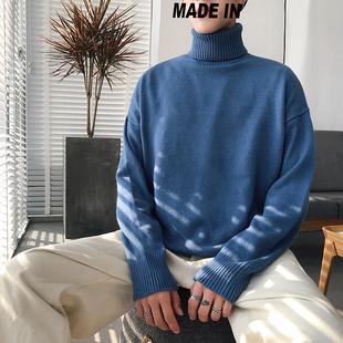 2019新款冬季高领毛衣男士套头针织衫韩版宽松毛线衣潮个性打底衫品牌