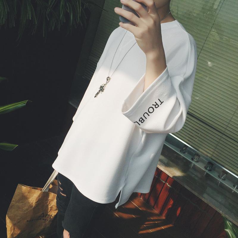 短袖男士t恤韩版潮流宽松五分袖T恤衫港风上衣潮牌ins七分袖卫衣