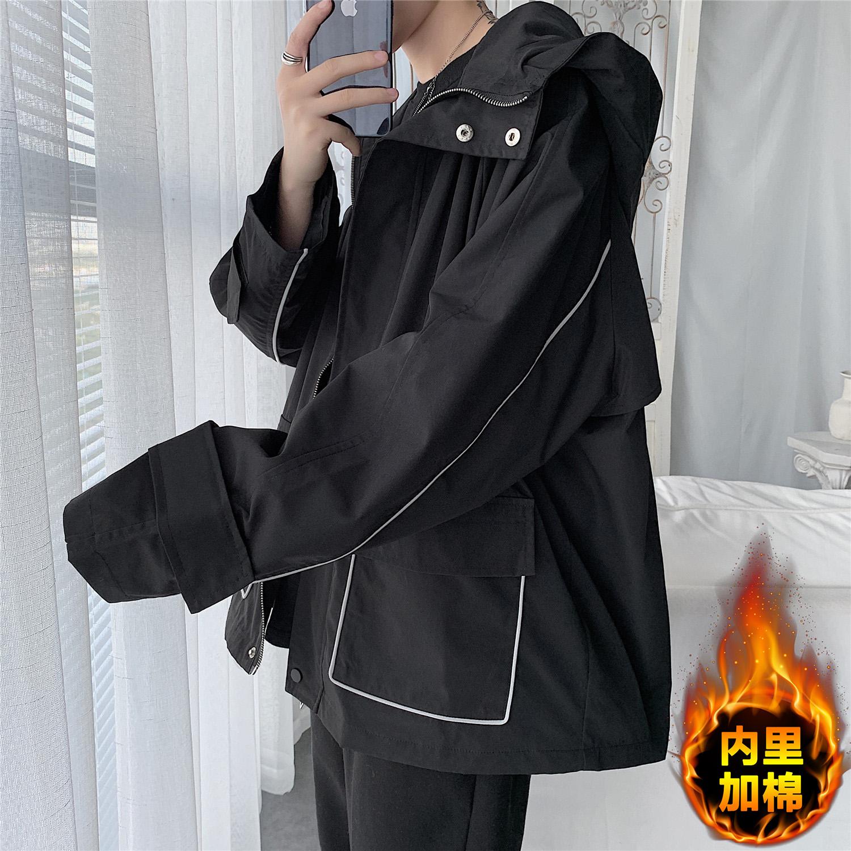 男装2020新款工装夹克休闲外套男秋冬季宽松港风韩版潮流加绒衣服