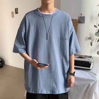 2020春季新款短袖T恤男bf宽松圆领纯色百搭打底衫cec学生休闲上衣