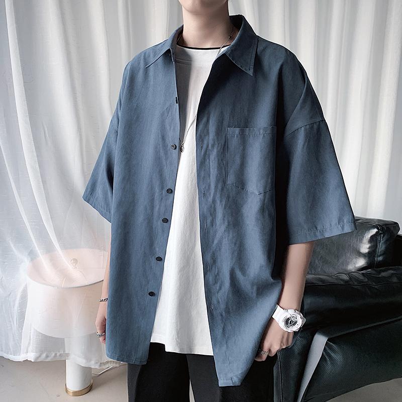 男韩版潮流夏季纯色短袖服2021衬衫质量靠谱吗