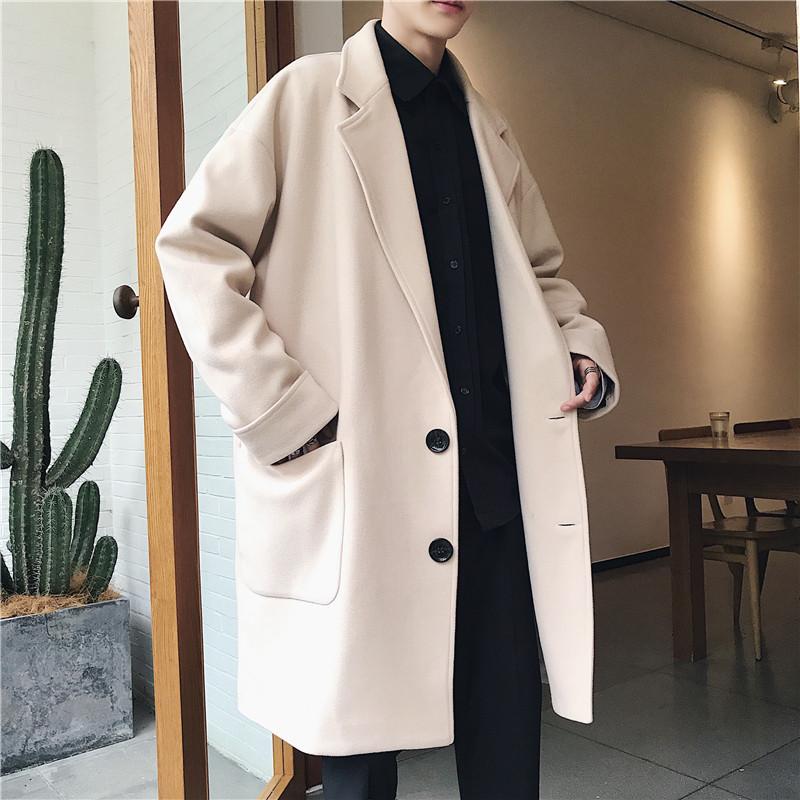 毛呢大衣男冬季韩版潮流帅气保暖呢子风衣外套中长款宽松ins港风图片