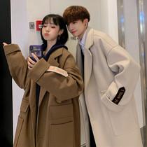 冬季情侶裝中長款毛呢大衣男士韓版新款港風潮流外套學生百搭風衣