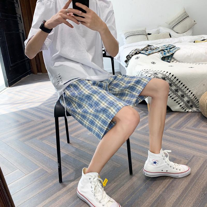 格子短裤男夏季韩版潮流宽松休闲裤