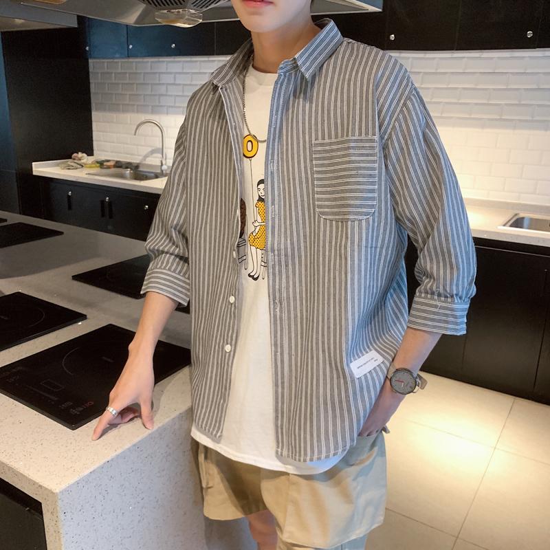 条纹衬衫男士七分袖衬衣韩版潮流帅气休闲情侣上衣服秋季长袖外套图片