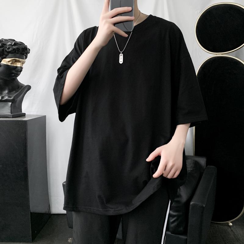 2020新款夏季纯色圆领短袖T恤男宽松韩版潮流半袖上衣休闲打底衫