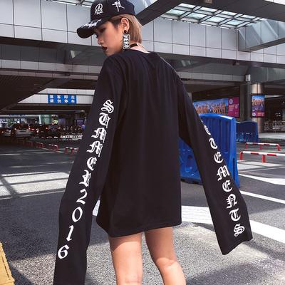 韓國ulzzang字母中長款INS宋茜EXO黃子韜同款超長巨袖薄款衛衣T恤