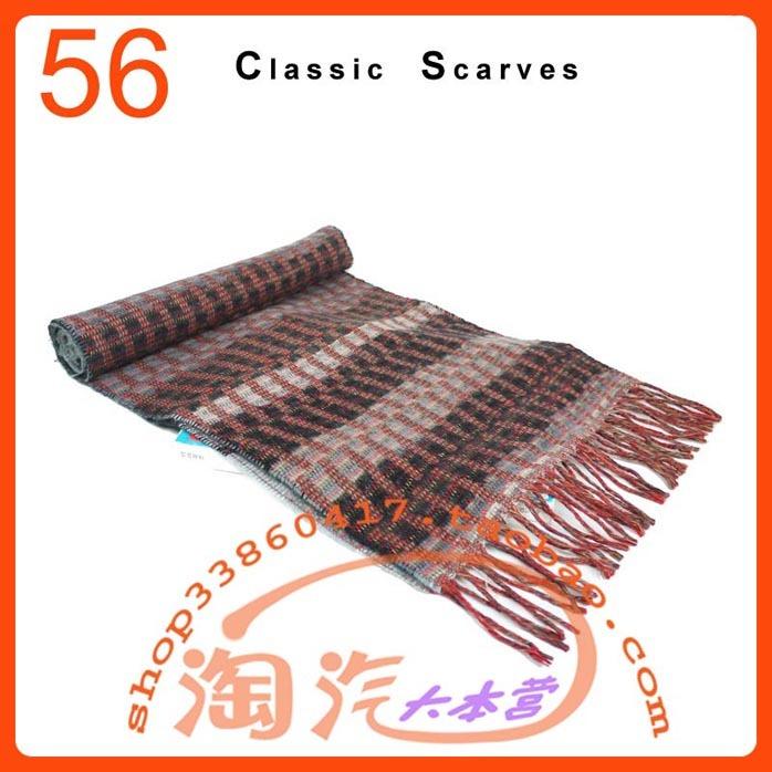 新春节礼物 外贸原单 灰红色图案带穗 细羊毛男女薄款围巾围脖