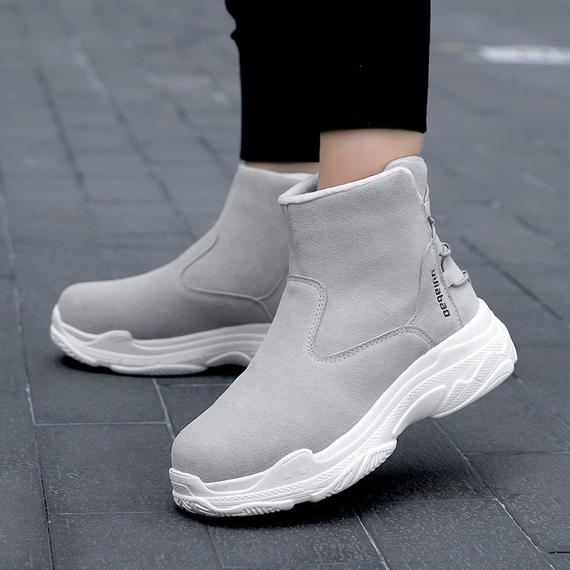 Yijiabao 2020 autumn new Korean frosted leather flat heel warm snow boots womens comfortable thick bottom flat bottom boots