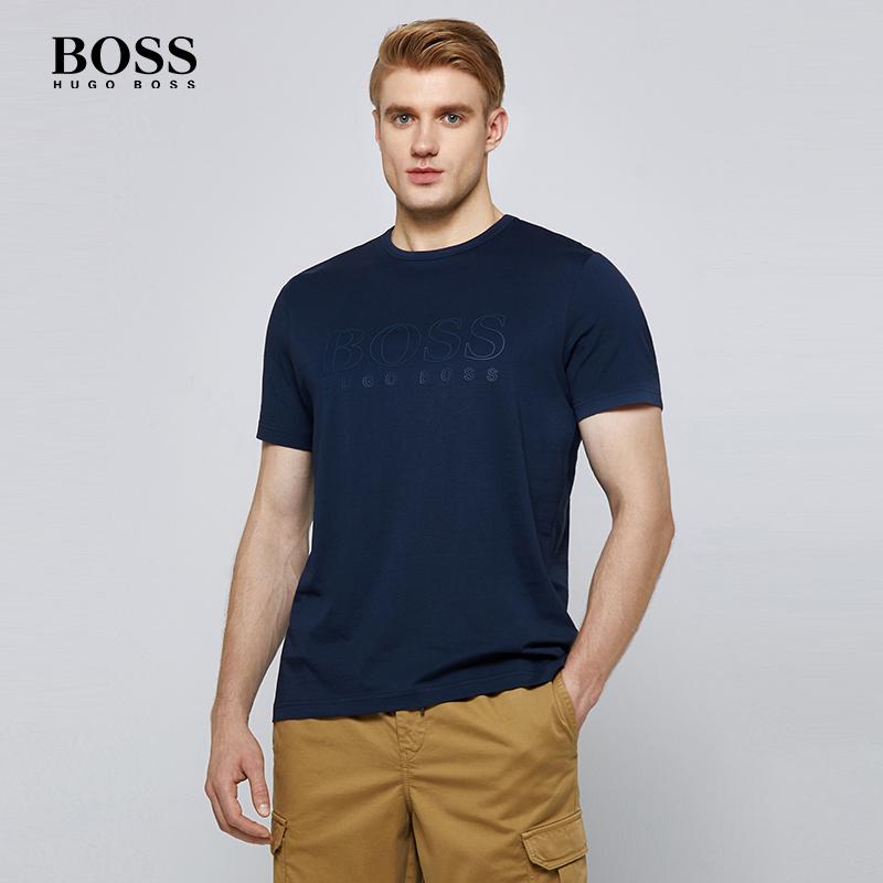 HUGO BOSS雨果博斯男士时尚LOGO字母印花品质舒适纯棉圆领短袖T恤