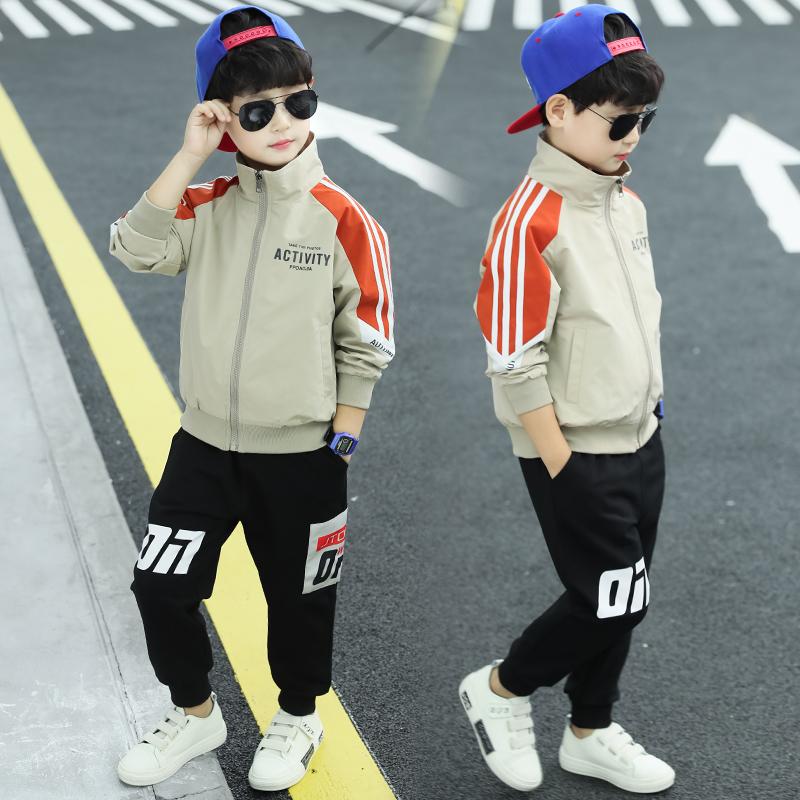 童装男童套装2019秋款洋气儿童春秋装中大童运动装两件套帅气韩版热销10件不包邮