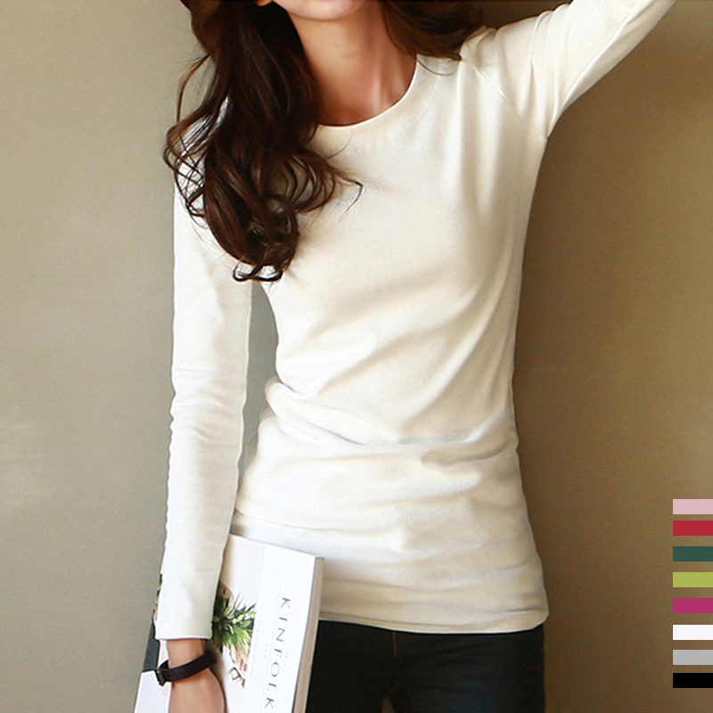 Pure cotton white T-shirt for womens fall 2019 new slim fitting T-shirt with long sleeve T-shirt in black