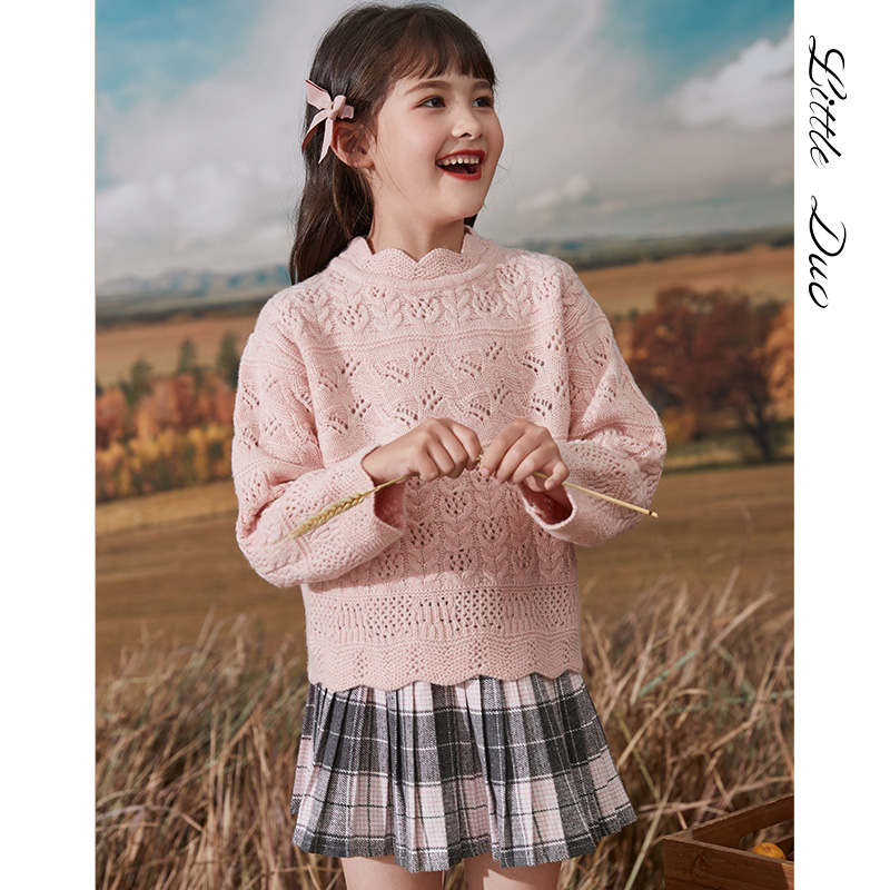 2020 new spring and autumn childrens sweater versatile knitted hollow bottomed sweater