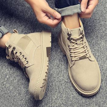 马丁靴男夏季透气韩版高帮靴子英伦工装男靴中帮休闲鞋子军靴潮鞋