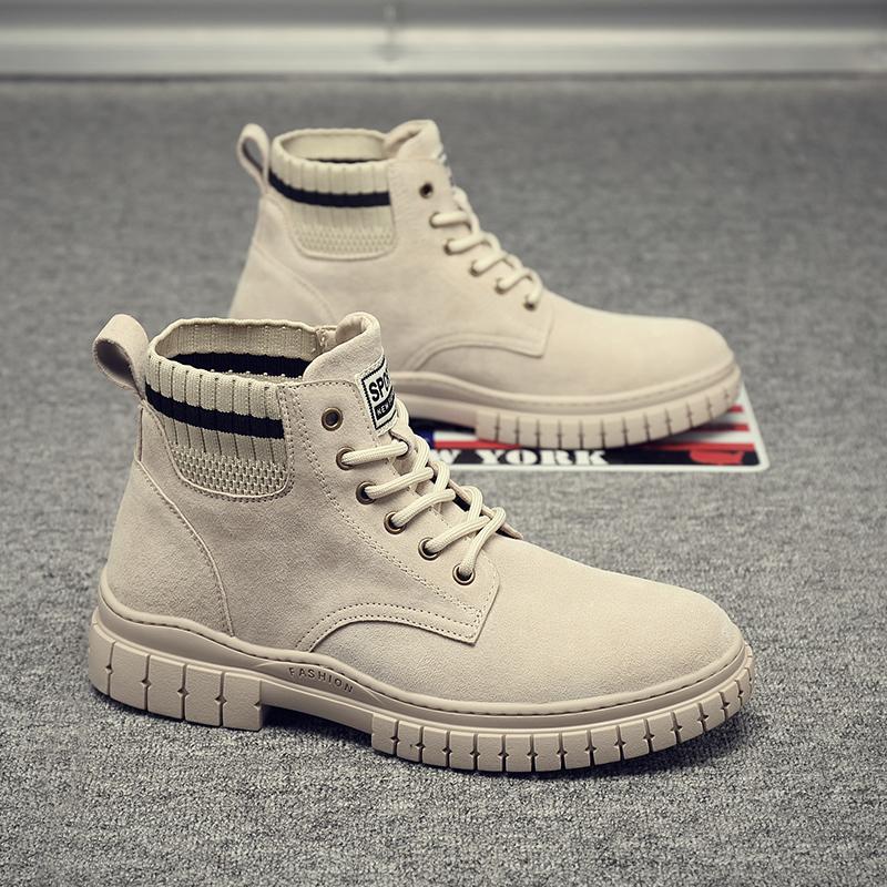 马丁靴男秋冬高帮英伦潮鞋皮短靴子工装雪地沙漠中帮鞋子真皮军靴