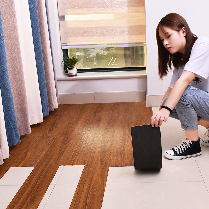 自粘地板革pvc地板贴纸加厚防水耐磨家用石塑木地板水泥地直接铺