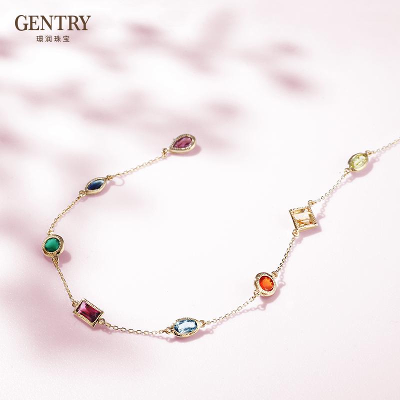 Natural color small gem Bracelet 18K Gold tourmaline sea blue topaz DIY fine agate genuine luxury