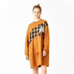 商场同款 飞鸟和新酒 冬装新款 雪人格子卫衣连衣裙FK1870180401
