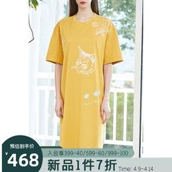 飞鸟和新酒针织连衣裙女2021春季新款宽休闲气质短袖大码直筒裙子