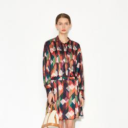 商场同款飞鸟和新酒印花连衣裙女2021春装新款显瘦小众复古中长裙