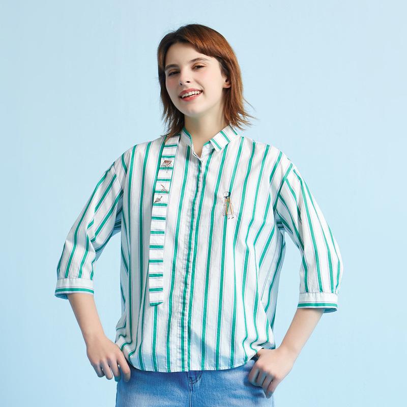飞鸟和新酒夏装新款主题图案衬衫