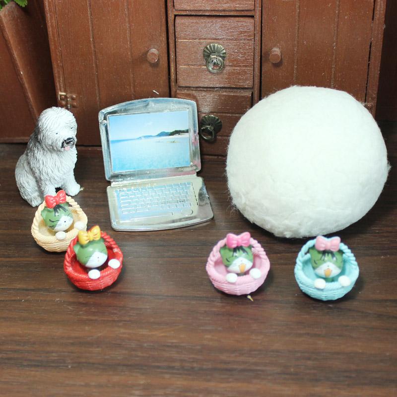 Mini props dog snowball laptop computer basket kitten BJD dolls with 6 points SD