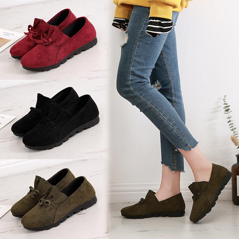 老北京布鞋女款浅口平底软底豆豆鞋一脚蹬开车鞋春夏款单鞋工作鞋
