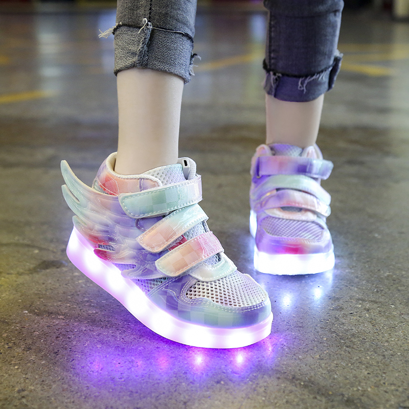 Luminous sole with lamp childrens shoes waterproof colorful middle and large childrens luminous shoes mens and womens luminous shoes fluorescent sports net shoes