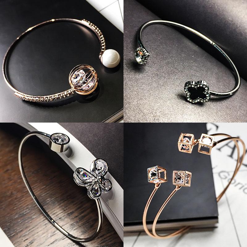 玫瑰金幾何圓手鐲女鈦鋼裝飾品手環韓國學生開口簡約手鏈韓版森系
