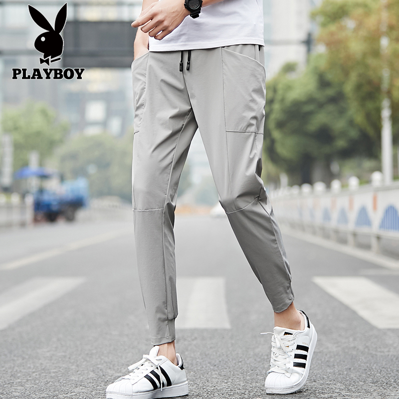 Playboy spring and summer thin pants men's Korean Trend 9-point pants overalls men's fashion brand Leggings casual pants