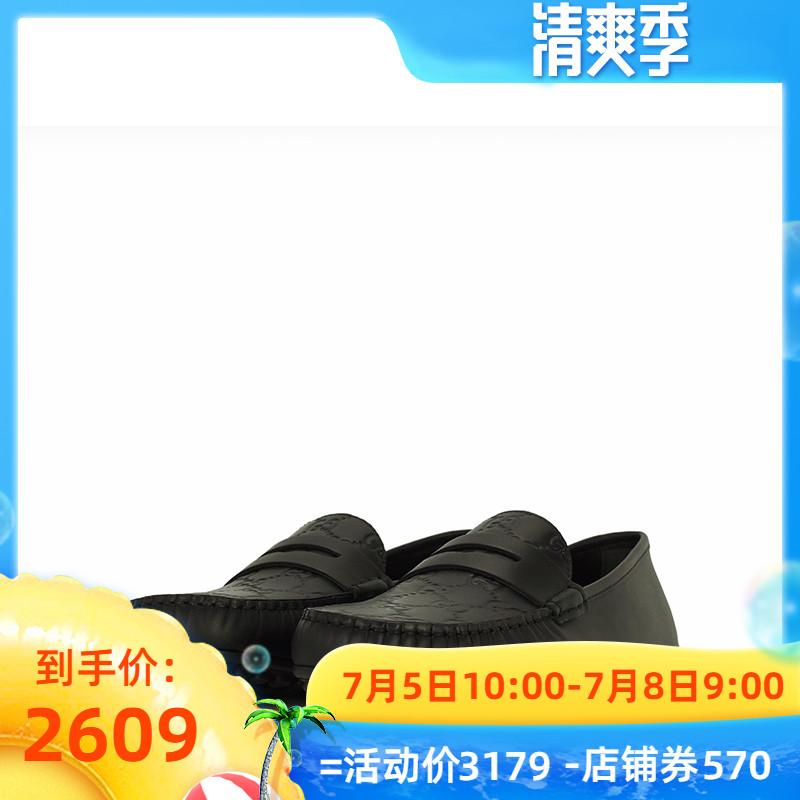 GUCCI古驰 正品2019春夏男士时尚经典双G黑色套脚休闲鞋431063
