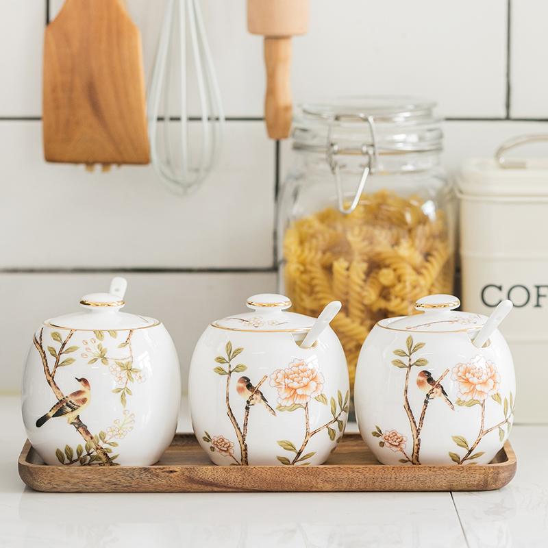 陶瓷三件套调料盒罐子味精厨房盐罐满99元可用5元优惠券