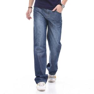 飞诺夏季薄款男装商务休闲宽松直筒加肥加大码男士牛仔裤长裤子潮