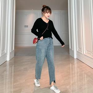 大码女装秋装2019年新款微胖妹妹mm针织打底衫上衣牛仔裤套装洋气