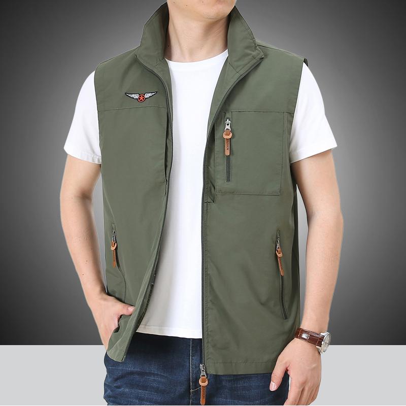 户外马甲男多口袋工装马夹薄款速干无袖夹克钓鱼摄影立领背心外套