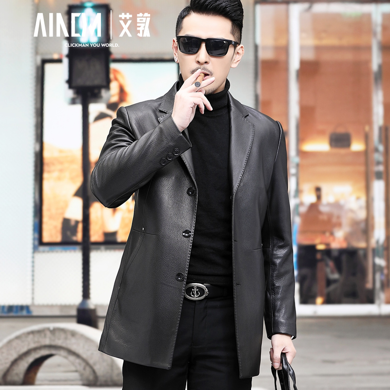 2020 new deerskin suede men's tailored leather suit jacket Haining leather leather men's suit