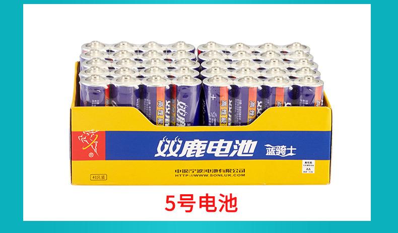 天天特价双鹿5号电池 普通AA 碳性干电池 遥控钟表玩具用40节装