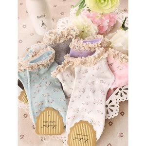 休闲日系森女碎花田园薄棉袜可爱棉女袜女士袜子船袜花边短袜