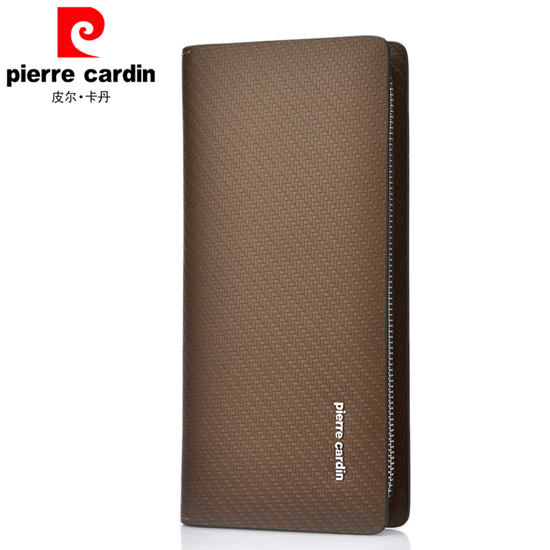 Pierre Cardin wallet men's long leather business wallet cowhide card holder zipper new fashion brand wallet handbag