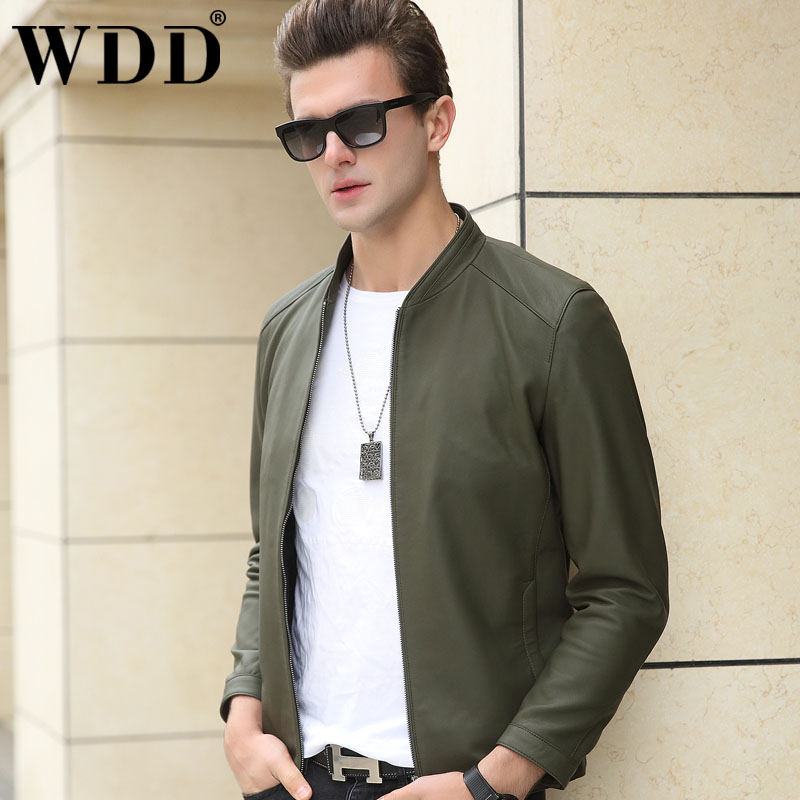2021 Haining leather leather men's sheep short youth baseball led car jacket matte outer casing