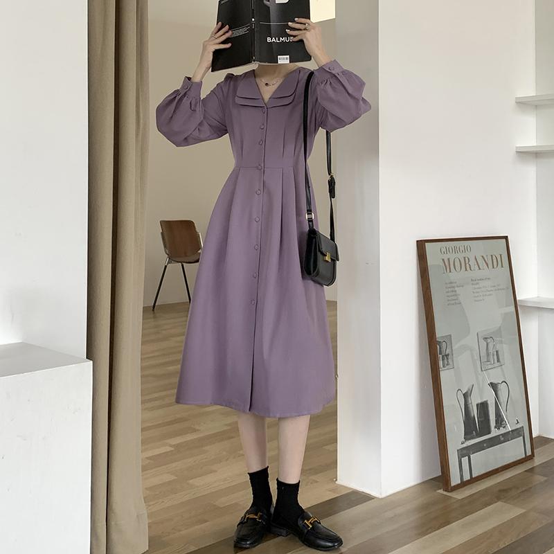 秋季2021年新款法式复古紫色长袖裙子收腰显瘦温柔气质连衣裙女装