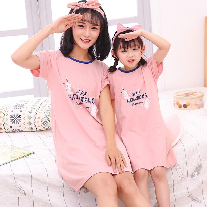 亲子装女童夏季纯棉睡裙儿童短袖睡衣连衣裙子女孩全棉卡通家居服