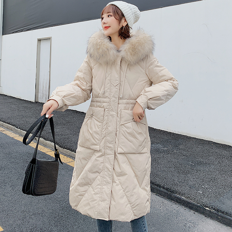 Down jacket womens middle and long section thickened Korean version fashion temperament big hairy collar white duck down jacket 2020 winter new trend