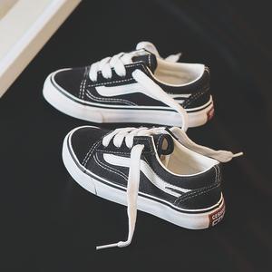 2020春季新款儿童帆布鞋女童鞋子男童板鞋小白鞋黑布鞋韩版百搭潮